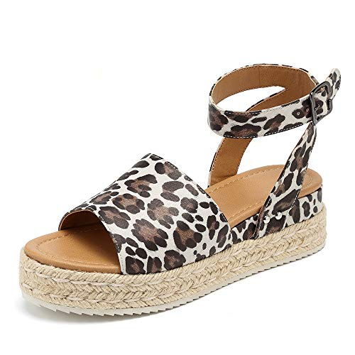 MORNISN Espadrille Platform Sandals for Women Ankle Buckle Strap Open Toe Wedges Shoes Leopard Summer Sandals