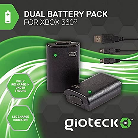 Gioteck - Dual Battery Pack + Cable Play & Charge (Xbox 360): Amazon.es: Videojuegos