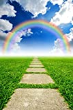 Rainbow Backdrop, green grass ground rock path sunshine weather, printed fabric photography background (G0167, 8' wide by 12' tall)