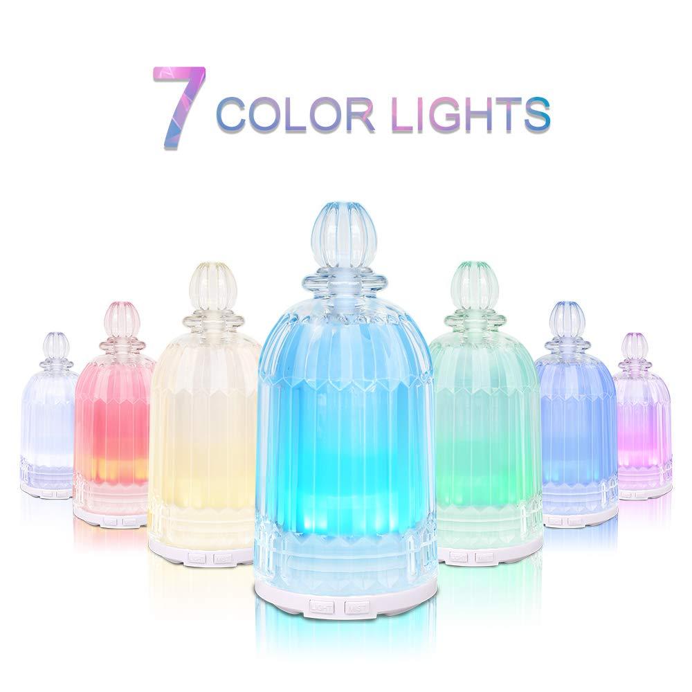 Diffusore a Base Di Olio Di Vetro, Latitop Diffusore Di Aromaterapia Ad Ultrasuoni Per Oli Essenziali Con Luci a Led a 7 Colori, Funzione Di Spegnimento Automatico (White)