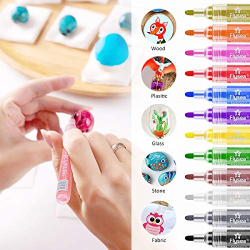 LOBKIN Acrylic Paint Pen, Drawing Marker Pens Paint Pen Extra Fine Point Tip Marker Pen for Rock Painting, Canvas, Photo Album, DIY Craft, School Project, Glass,Wood, Metal. (12pcs-3 mm)