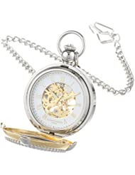 Charles Hubert 3846 Two-Tone Mechanical Picture Frame Pocket Watch