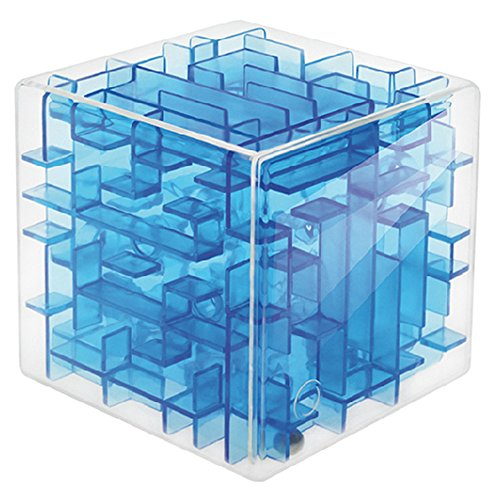 Maze Box (HaloVa 3D Maze Magic Cube, Transparent Magic Cube Puzzle, Sequential Labyrinth Rolling Ball Game Learning Educational Toy Christmas Birthday Gift, Blue)