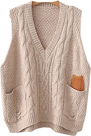 Minibee Women's V-Neck Knitted Sweaters Vests Sleeveless Plus Size Casual Pullover Top