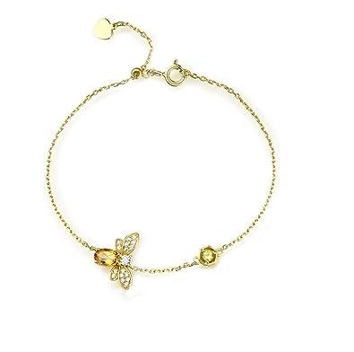 250dfb22de8e Gudeke Bracelet en or 18 carats d or de citrine de peridot d abeille ...