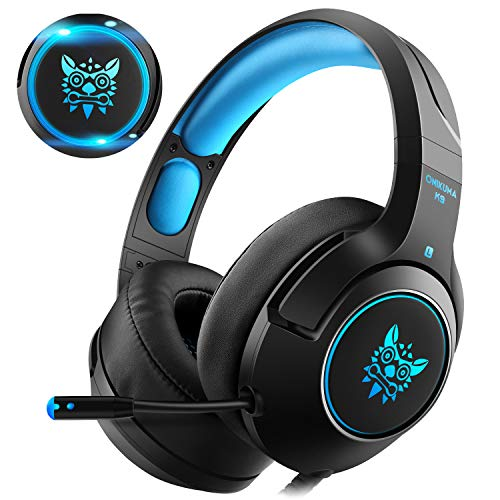 CASFANSTA Elite Gaming Headset for Xbox One PS4 with Microphone, 7 Colorful LED Light - 7.1 Surround Sound - Extreme Soft Earmuffs - Retractable Mic for PC, Nintendo,Mac,Mobile