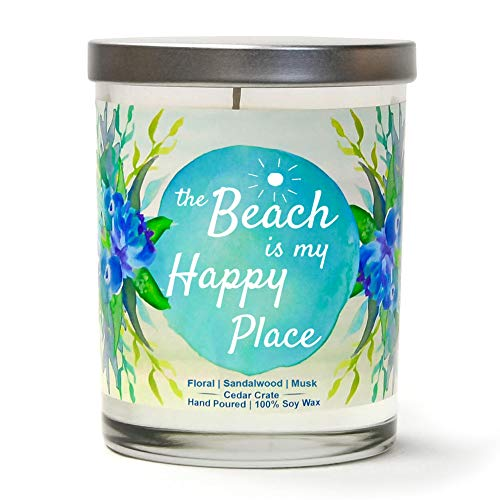 The Beach is My Happy Place | Floral, Sandalwood, Musk | Scented Soy Candles | 10 oz Jar Candle | Made in USA | Decorative Aromatherapy | Beach Gifts for Women or Men | Teal Candles | Beach Candles ()