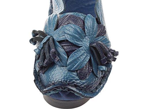 Fiori blu Stile Vintage Vogstyle Pelle 1 Primavera A Mano Scarpe estate Donne Fatto r67nvr