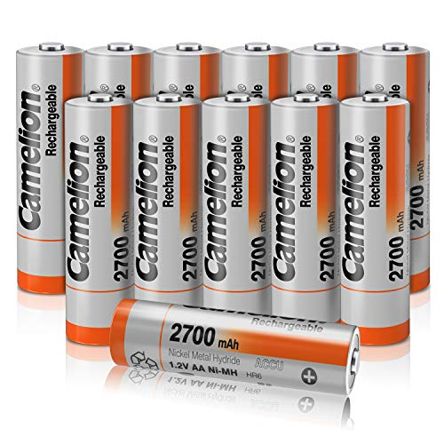Camelion AA 2700mAh High Capacity Rechargeable Battery (12 Pack) AA NiMH Batteries with Battery Storage Case for high Drain Devices,Toys, Shavers, Gaming Controls, Flashlights, Boombox, Microphones