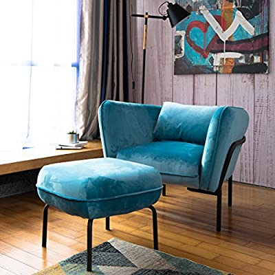 Art Leon Modern Simplicity Industrial Style Frabic Club Chair with Ottoman One Seater Velvet Fabric (Mineral Blue) Designed Furniture - Set includes: One Modern Simplicity Industrial Style Frabic Club Chair With Ottoman One Seater Velvet Fabric (Mineral Blue) Industria style modern design with curved back. Upholstered in mineral blue velvet fabric. The best 25 degree angle seating and high density spring back sponge create best sit feeling. - living-room-furniture, living-room, accent-chairs - 51NUtfymRxL. SS400  -