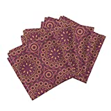 African Afrocentric Africa African Inspired South Nature Leaves Organic Sateen Dinner Napkins Southern Circles by Robyriker Set of 4 Dinner Napkins
