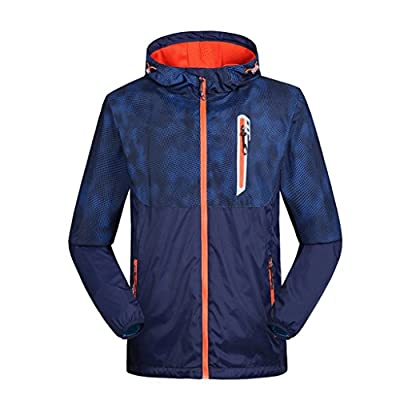 2-FITNESS Men's Lightweight Full Zip Running Jacket, Waterproof Active Outdoor Hoodie 3 Color M/L/XL/2XL/3XL