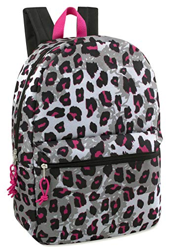 "17"" Trailmaker Backpack Bookbag - Grey Pink Leopard"