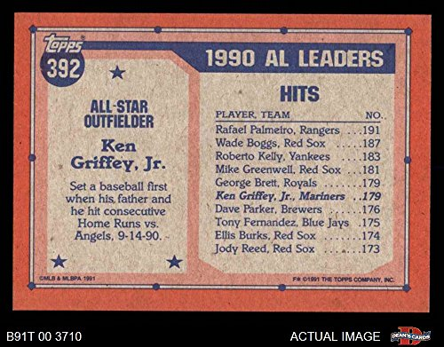 65edb231f2 Amazon.com: 1991 Topps # 392 All-Star Ken Griffey Jr. Seattle Mariners ( Baseball Card) Dean's Cards 8 - NM/MT Mariners: Collectibles & Fine Art
