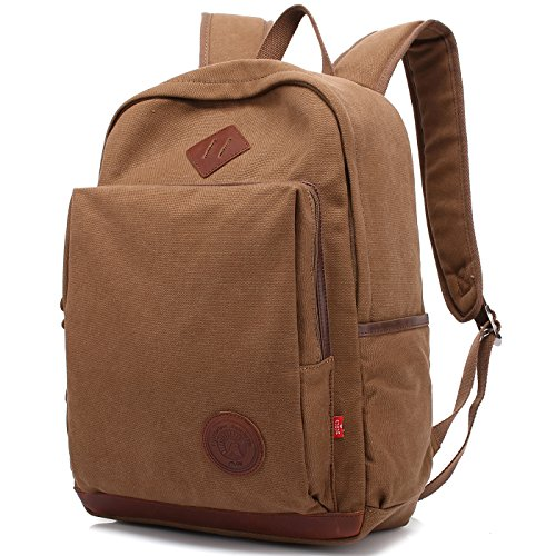 (School Backpack,AUGUR Vintage Casual Canvas Backpack Travel Hiking Rucksack for Men Women Students Daypack (Canvas-Coffee) (Canvas-Coffee))