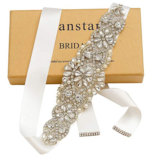Yanstar Handmade Bridal Belt Wedding Belts Sashes Rhinestone Crystal Beads Belt For Bridal Gowns (Silver-Off White) ()