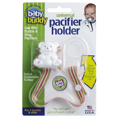 Baby Buddy Universal Pacifier Holder Clip - Snaps to Paci or Attach with Universal-Fit Silicone Ring - Pacifier Clip for Babies 4+ Months/Toddler Boys & Girls, Sherbet ()