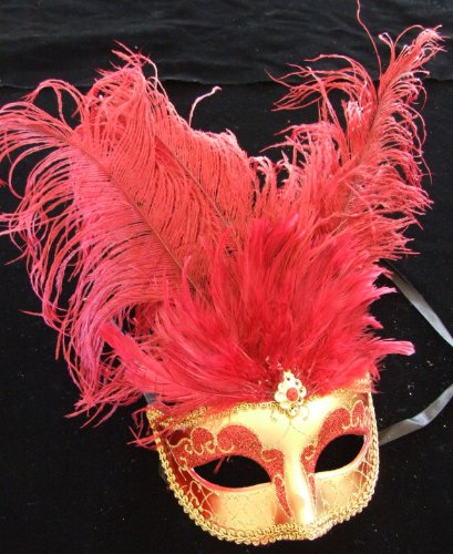 Showgirl Red & Gold Halloween Mardi Gras Costume Masquerade New Orleans Prom Party (New Orleans Costume)