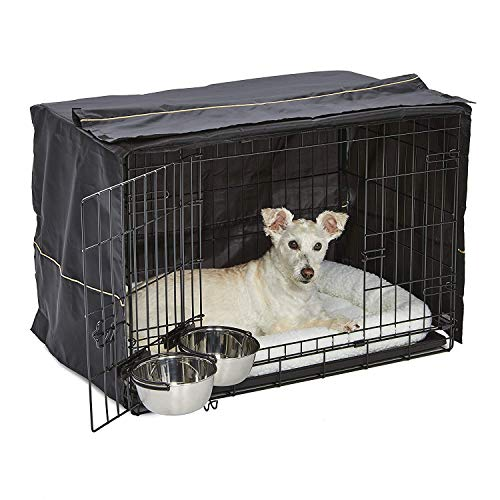 MidWest iCrate Starter Kit   The Perfect Kit for Your New Dog Includes a Dog Crate, Dog Crate Cover, 2 Dog Bowls & Pet…