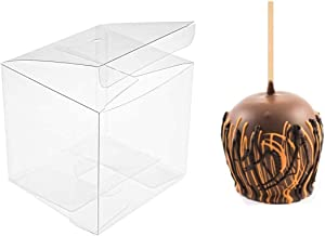 "30PCS Clear Candy Apple Box with Hole Top | 4"" x 4"" x 4"" PET Gift Boxes for Caramel Apples, Ornaments 