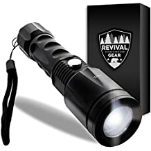 Tactical Flashlight: Best LED Outdoor Waterproof Torch With Zoomable Adjustable Focus Modes. Weather Resistant Portable & Durable Compact Ultra Bright Light Lumens. For Men Boys Kids Military (Black)