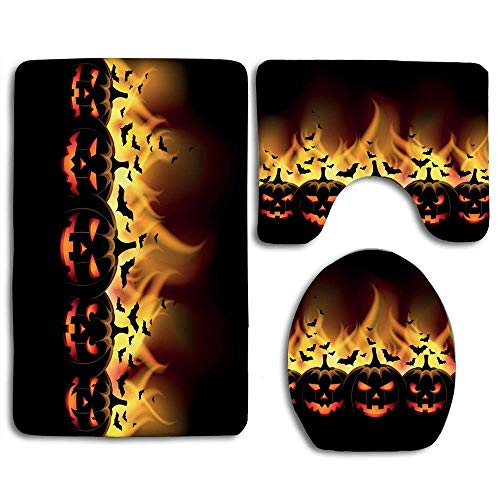 AKARIS-ooyi Happy Halloween Image with Jack o Lanterns on Fire with Bats Holiday 3pcs Set Rugs Skidproof Toilet Seat Cover Bath Mat Lid Cover Cushions Pads