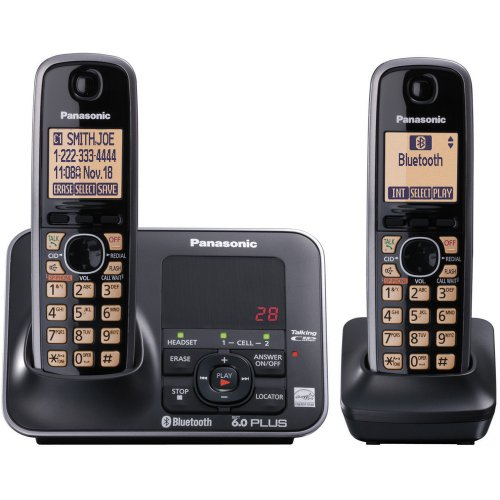 Panasonic Dect 6.0+ Link (Panasonic KX-TG7622B DECT 6.0 Link-to-Cell via Bluetooth Cordless Phone, Black, 2 Handsets)