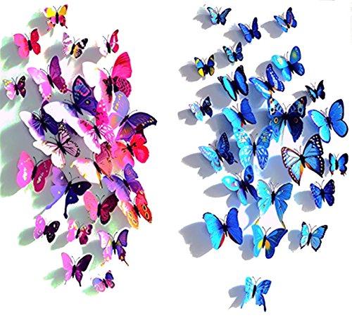 24pcs Purple&blue 3d Butterfly Stickers, Wall Stickers Crafts Butterflies, Wall Decoration, Fridge Magnet