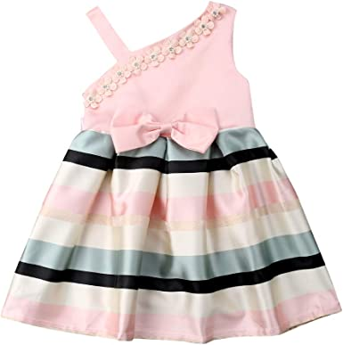 New Occasion Flower Bow Girls Dress Princess Wedding Birthday Party Kids Clothes
