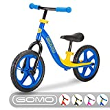 GOMO Balance Bike - Toddler Training Bike for 18 Months, 2, 3, 4 and 5 Year Old Kids - Ultra Cool Colors Push Bikes for Toddlers/No Pedal Scooter Bicycle with Footrest (Blue)