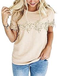 Women's Short Sleeve Floral Crochet Crew Neck Shirt Top Tee