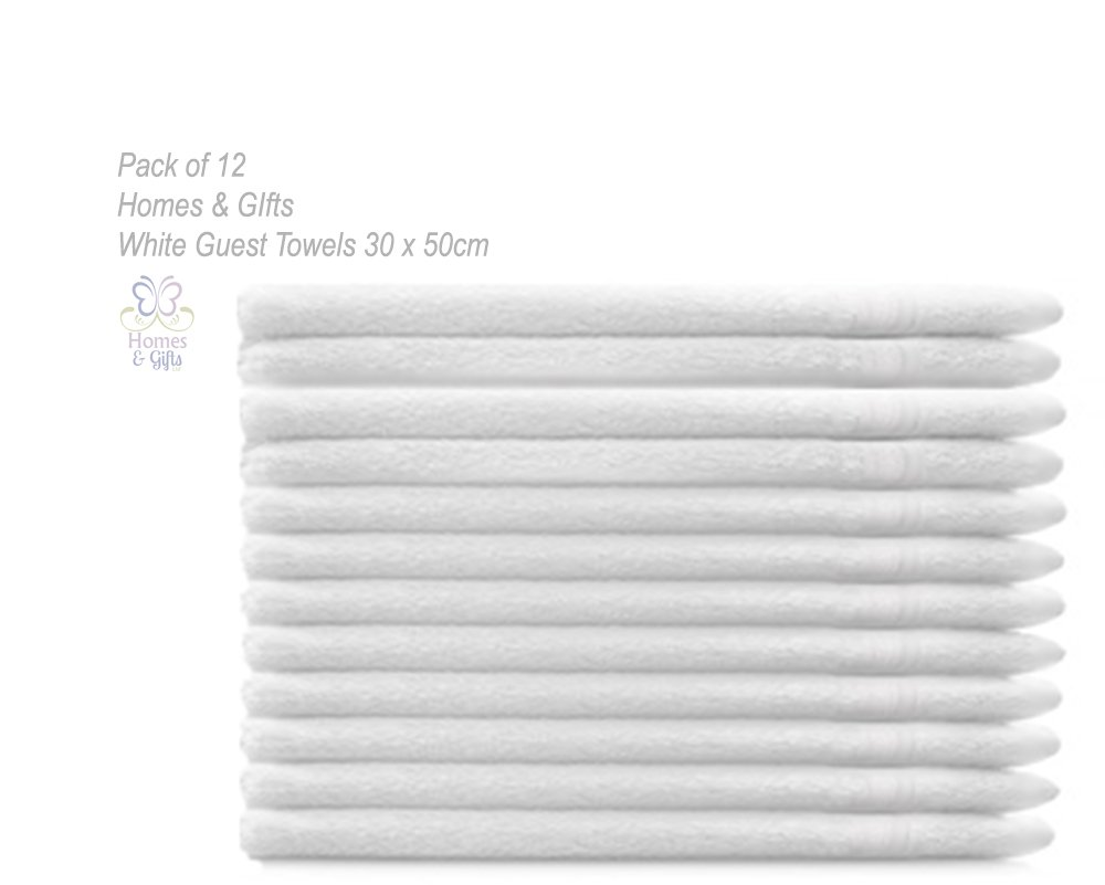 Homes & Gifts Ltd Pack 12 x White Guest Towels 100% Cotton 30x50cm