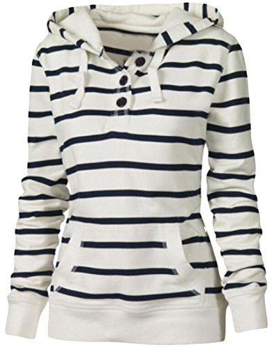 [LTYY Women's Casual Long-Sleeved Striped Hooded Sweater White L] (Long Sleeved Hooded Sweater)