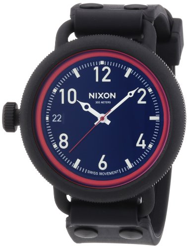 Nixon A488-760-00 Mens October All Black and Red Watch