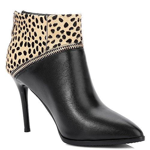 Leopardi Teräväkärkiset Korkea Lehmän Seitsemän Piikkikorko Mekko Käsintehtyjä Saapikkaat Yhdeksän Tyylikäs Musta Nahkaa Naisten Nilkan Kengät Ip0wfRxq