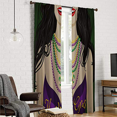Mozenou 2 Panels Set Bedroom Kitchen Bedroom Curtains Mardi Gras,Young Woman with Party Dress and Necklace with Fleur De Lis Symbol Accessories,Multicolor W120 x L96 Inch