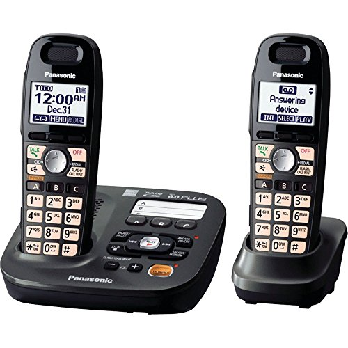 Panasonic DECT 6.0 Plus Cordless Amplified Phone with Digital Answering System Expandable to 6 Handsets Talking Caller ID - 2 Handsets Included (KX-TG6592T) from Panasonic