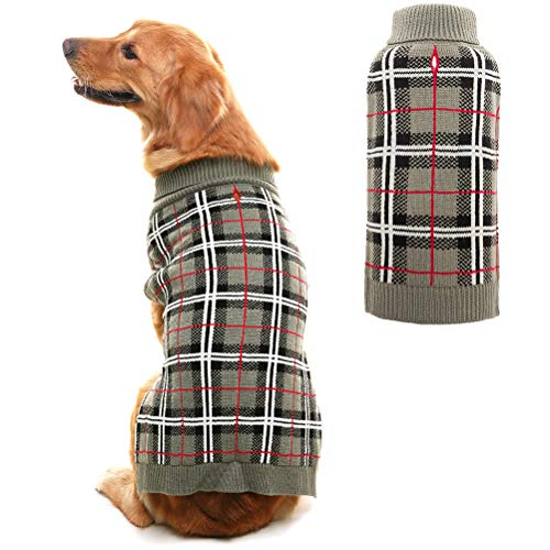 PUPTECK Classic Plaid Style Dog Sweater - Puppy Festive Winter Clothes Grey Medium ()