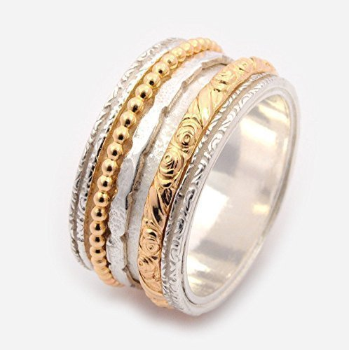 Silver and gold Mixed spinner wedding ring for women size 6 to 9 by By Nature Jewellery