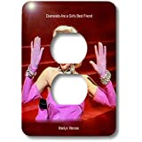 3dRose LLC lsp_107176_6 Marilyn Monroe Singing Diamonds Are a Girls Best Friend (textured) (PD-US) - 2 Plug Outlet Cover