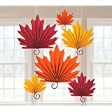 """Amscan Colors of Fall Thanksgiving Party Autumn Leaves Hanging Fans Decoration (Pack of 6), Orange/Red, 18"""" x 11"""" (Package Size)"""