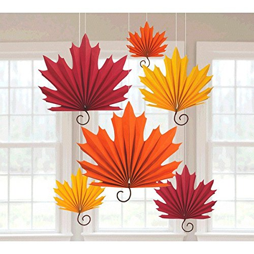 - Amscan | Home Decoration | Leaf-Shaped Hanging Paper Fans | 6 in a Package | Multi colored