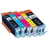 キャノン(CANON) 5色 【大容量】 互換 インクカートリッジ BCI-370 / BCI-370XL (純正同様の顔料ブラック)/ BCI-371 / BCI-371XL 残量表示チップ搭載 ≪ベルカラー≫