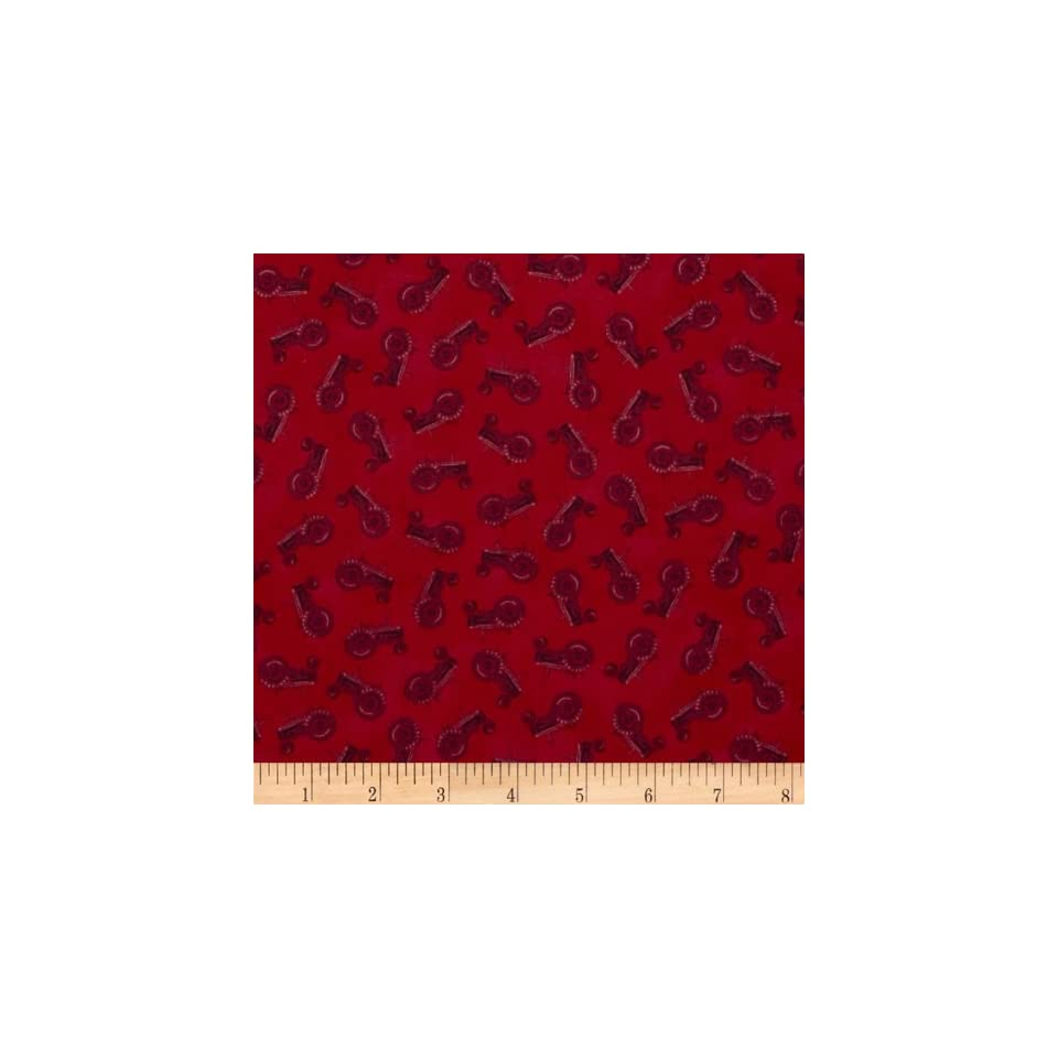 International Harvester Big Red Tractor Silhouettes Red Fabric