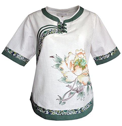 (Amazing Grace Elephant Co Chic Linen Qipao top / Cheongsam Blouse China Lass Collection (42, Cream Village)