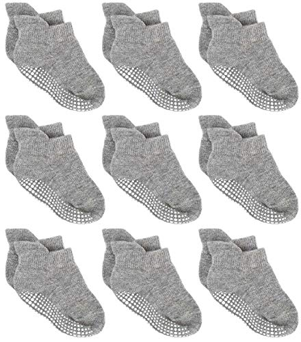 Zaples Baby Non Slip Grip Ankle Socks with Non Skid Soles for Infants Toddlers & Little Kids -