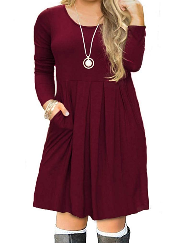 VISLILY Women's Plus Size Long Sleeve Pleated Swing Dress with Pockets XL-4XL VS-VPS0012