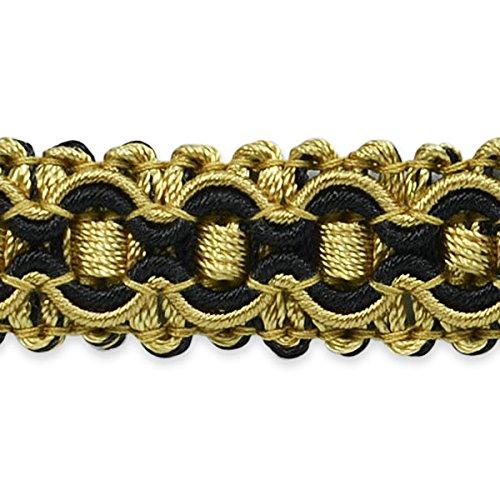 (Expo International Gabrielle Decorative Braid Trim, 20-Yard, Black/Gold )