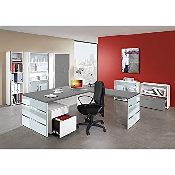 Buromobel Set Lugano257 Grafit Weiss Glas Applikationen Amazon De