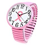 Super Size Pink Ribbon Breast Cancer Awareness Stretch Band Watch